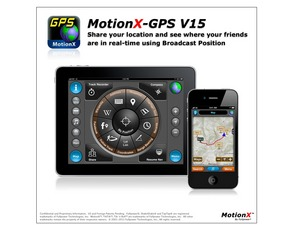 MotionX(TM)-GPS V15: Share locations with friends using real-time broadcast positions