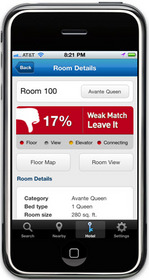 The Room 77 iPhone app will instantly advise travelers whether or not to ¿take it¿ or ¿leave it,¿ eliminating the hassle of walking all the way to the room only to discover the room does not meet expectations.