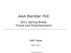 AAA Member Poll: 2011 Spring Break Travel & Entertainment PowerPoint Presentation