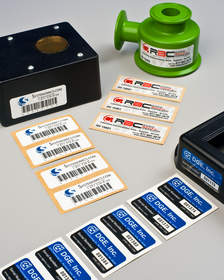 Product identification labels adhere to powder coated surfaces