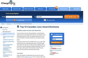Cheapflights.ca,Juno Awards,Justin Bieber,Drake,Michael Bublé,Arcade Fire,music,awards,top10,travel