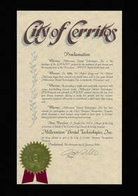 Proclamation from the City of Cerritos Business Recognition Program recognizing Millennium Dental Technologies, Inc.