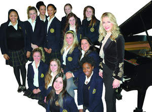 Marina Arsenijevic with the Academy of the Sacred Heart's Upper School choir