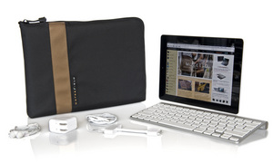 WaterField Designs iPad Travel Express in Black with Copper accent.
