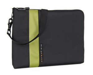 WaterField Designs iPad Travel Express in Black with Green with optional shoulder strap.