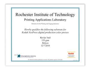 Relyco REVLAR waterproof paper certified for Kodak NexPress