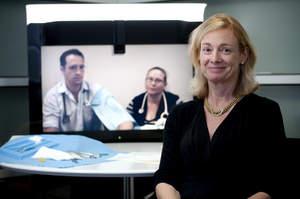 Debra Nestel, Professor of Medical Education at Monash University's Gippsland Medical School and Gippsland Medical School students joining via Cisco TelePresence.