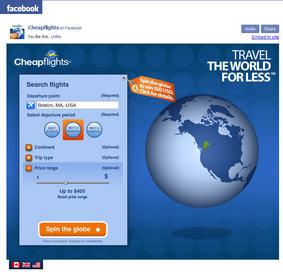 Cheapflights Travel Inspiration Facebook application