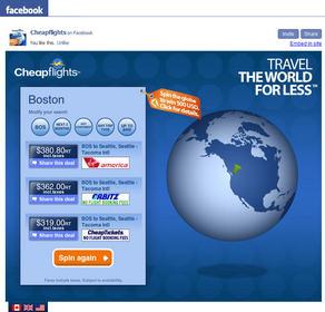 Cheapflights' Travel Inspiration Facebook App