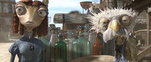 Left to right: Beans (Isla Fisher) and Furgus (Lew Temple) in RANGO, from Paramount Pictures and Nickelodeon Movies.