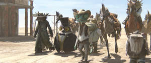 Left to right: Elgin (John Cothran), Ambrose (Ian Abercrombie), Rango (Johnny