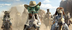 Center to right, foreground: Rango (Johnny Depp) and Beans (Isla Fisher) in RANGO,