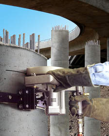 ESCO Tool's Saw and track system evens off  tops of concrete pilings