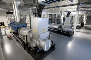 Cisco's new green data center features an uninterruptable power supply (UPS) room that uses energy-efficient rotary flywheels, instead of hundreds of environmentally challenging batteries which are often used in older data centers.