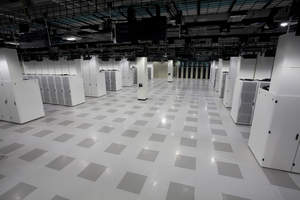 Data Center Hall in Cisco's new green data center.  The data center is cooled by an energy-efficient air-side economizer design, which reduces the need for mechanical chilling by using ambient fresh air when the outside temperature is low enough.