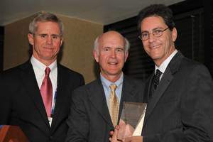 Dr. Ronald Oudiz, from LA BioMed (right) accepts the Pulmonary Hypertension Association Award of Excellence in Pulmonary Arterial Hypertension Care from Dr. Gregory Elliot (center) and Dr. David Badesch (right) during a reception on May 16.  The award -- provided through a grant from Actelion Pharmaceuticals US -- recognizes excellence in research and clinical practice for physicians who treat pulmonary arterial hypertension, a progressive and often fatal disease.