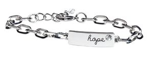 maurices Hope Bracelet is a silver chain link featuring an engraved 'hope' and rhinestone stud.