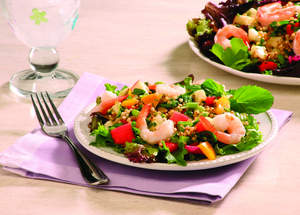 Sorghum Tabbouleh with Shrimp and Sherry Vinaigrette on Mixed Greens