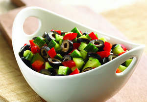 Black Olive, Red Pepper and Cucumber Salad