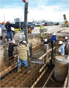KEMROCK's chemical-resistant cement system being used for construction of a sulphur trench.