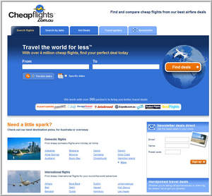Screen shot of the full service Australia and New Zealand travel search site Cheapflights.com.au