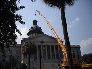 Southern Crane, South Carolina Capitol dome, restoring flagpole, flag etiquette