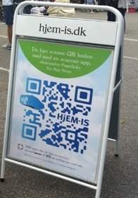 Custom Paperlinks QR (Quick Response) code for Hjem-IS ice cream.