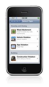iPhone screen of Salt Lake City 311 menu options for weed abatement, vehicle violation, more.