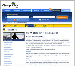 Cheapflights.ca Shares its Picks for Top Social Travel Planning Apps