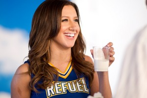 Ashley Tisdale enjoys a glass of lowfat milk at her got milk? ad shoot