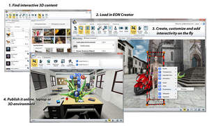 interactive 3D, 3D software, virtual reality, immersive, avatar, 3D library, cloud