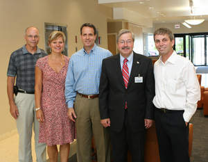 Iowa Governor Terry Branstad and executives from Medline Industries, Inc. met today at the company's headquarters in Mundelein, Ill. to discuss business opportunities in Iowa. Medline's customer service center in Dubuque currently employs 350 people. (Left to right) Medline's Ray Swaback, Patty Long and Ron Barth; Iowa Governor Terry Branstad; Jim Abrams, Medline's Chief Operating Officer.