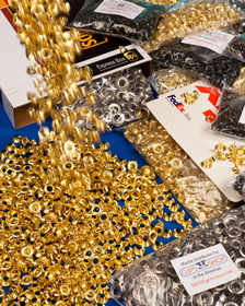 self-piercing solid brass metal grommets, washers and setting dies