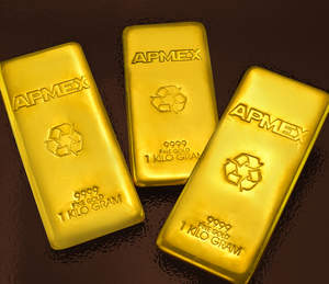 Three Gold kilo bars refined and manufactured for APMEX. Each bar is .9999 fine Gold