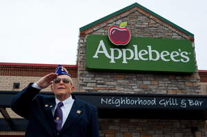 A veteran salutes at Applebee's, which will salute the nation's military this Veterans Day (Friday, November 11, 2011) with free Thank You meals.