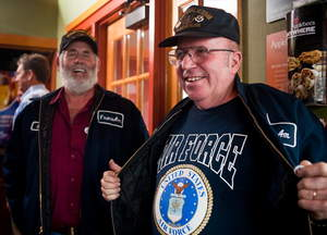 Two veterans visit Applebee's on Veterans Day, where veterans and active duty military receive a free Thank You meal.