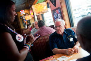 A veteran orders a free Thank You meal on Veterans Day at Applebee's.