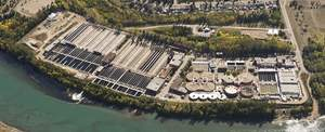 Aerial view of Gold Bar Wastewater Treatment Plant - Alberta, CA