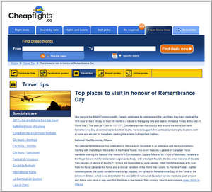 Cheapflights.ca's Top Places to Visit in Honour of Remembrance Day