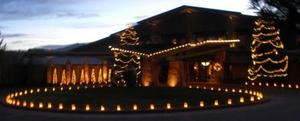 Twinkling holiday lights at The Lodge at Garden of the Gods Club