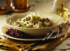 Risotto with Italian Sausage, Mushrooms, Peas and Asparagus