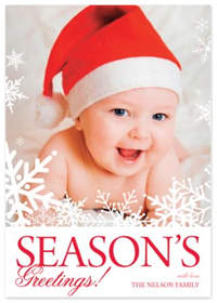 White Flakes Christmas Photo Card