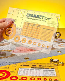 The GROMMETsizer(TM) template identifies I.D. and flange size of grommets