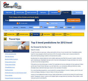 Cheapflights.com's Top 5 Trend Predictions for 2012 Travel