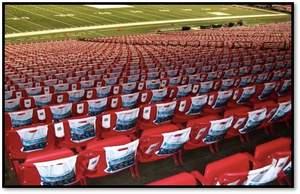 in-seat stadium advertising, branding, college football