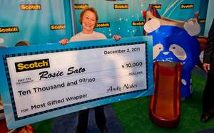 Rosie Sato, a gift wrapper from Gardena, Calif. 'wrapped up' a $10,000 cash prize and the title of Scotch Brand Most Gifted Wrapper on Friday, December 2, 2011 in a national holiday gift-wrapping competition held at Rockefeller Center.