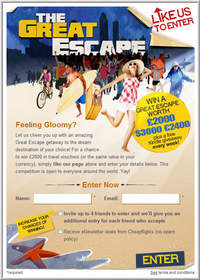 Cheapflights' The Great Escape Giveaway contest on Facebook