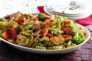 Roasted Vegetables with Rotini and Parsley-Rosemary Pesto