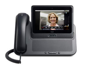 Cisco Cius and HD Media Station. Here, the Cius is shown docked during a video call.