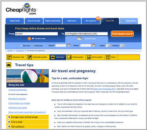 Cheapflights.com Air Travel and Pregnancy Tips